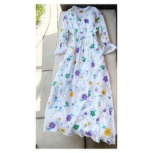 JOSEPH MAGNIN Vintage Butterfly Floral Maxi Dress